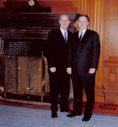 S.J. Finnessey, right, with Cooley Associate Dean James Robb, inside the United States Supreme Court.