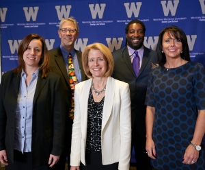 """Panelists from WMU-Cooley Law School's """"Silence Equals Death: How the Heroin Epidemic is Driving Change in Perception, Treatment, & the Law"""" symposium, (front row, left to right) Erica Clute-Cubbin, Lauren Rousseau and Hon. Jodi Debbrecht Switalski, (back row, left to right) Andre Johnson and Dr. Mark Menestrina."""