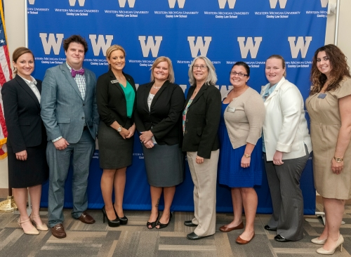 WMU-Cooley faculty, staff and students join the Hon. Julianne Holt. in her discussion on civil liberties and, in it, the role of the public defender.