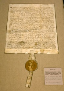 A copy of a 1297 version of Magna Carta is on display during a press viewing at the National Archives March 3, 2008 in Washington, DC.