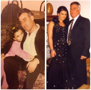 Rima Ali Yahfoufi with her dad - then and now.