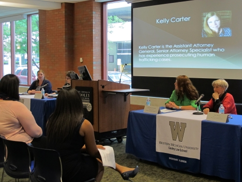 "Panel experts speak to WMU-Cooley law school students during ""The Slave Next Door: Stop Human Trafficking Today"" event on June 19, 2015."
