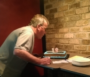 """12"" on Ken Wyniemko's birthday cake to commemorate 12 years of freedom, Mr. Wyniemko was exonerated on June 17, 2003. Wyniemko's birthday is June 15."