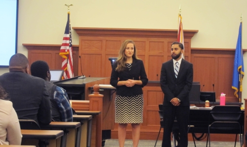 WMU-Cooley Tampa Bay students Carla Pollara and Milad Parchami  demonstrated their courtroom skills during the law school's Litigation with the Stars event.