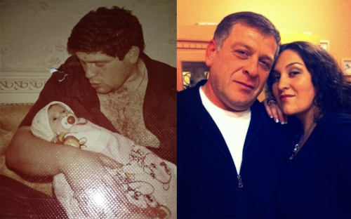 Zoya Shpigelman and her dad - Then and Now.