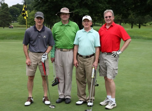 Tom Halm, Vincent Welicka, Dave Case, and Dave Prine hit the links for WMU-Cooley's 26th Annual Alumni Memorial Scholarship Golf Outing on July 13, 2015.