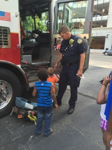 Kids loved sitting in the front seat of a fire truck at the Summer Safety event.