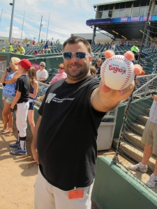 WMU-Cooley student Romain Peyret getting ready to throw a first pitch during Cooley for Kids on July  22, 2015.