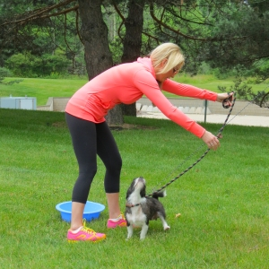 WMU-Cooley law student Sarah Gorski trys to point her dog in the right direction before hitting the trails during FITNESS UNLEASHED.