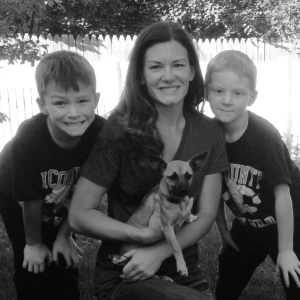 Jeanne Reed with sons Bryce, eight, and David, six