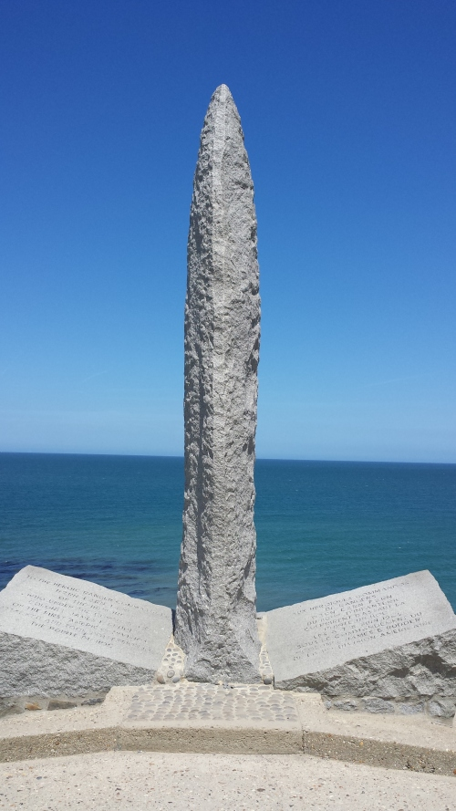The monument at the edge of Pointe du Hoc where President Reagan made his famous speech on the 40th anniversary of the D-Day landings.