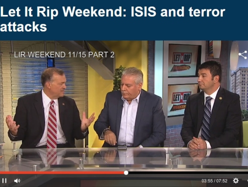 Ret. Brig. General and WMU-Cooley Homeland & National Security Professor Michael McDaniel (left) debates with Osama Siblani, publisher of the Arab-American News, and Martin Manna, president of the Chaldean Chamber of Commerce, during Nov. 15, 2015, Let It Rip Weekend: ISIS and terror attacks.