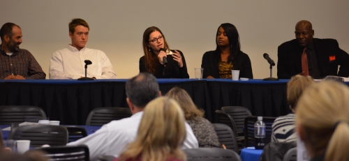 Panelists discuss improving addiction recovery support within the criminal justice and educational systems. Pictured (left – right) are Matt Statman, director of the University of Michigan Collegiate Recovery Program; Bill McDermott, personal trainer at One on One Athletic Club in Ann Arbor; Carly Keyes, student at the University of Michigan; Ariel Britt, a student in University of Michigan's graduate school of Social Work; and Alvon Lathan, director of the Inmate Mentoring Program at the Genesee County Jail. All five of the panelists are in long term recovery from addiction.