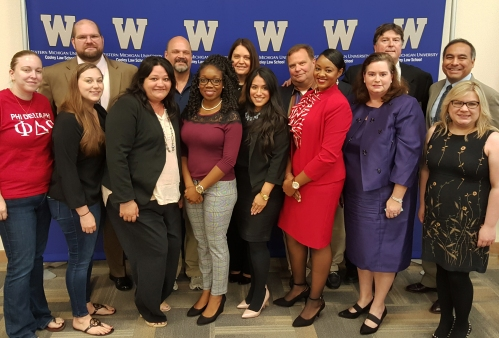 Animal Law panel and members of WMU-Cooley's Phi Delta Phi student organization students gather after a Nov. 11 event.