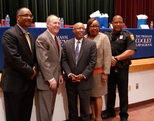 Event panelists (left to right) Darrell Brown, retired lieutenant and shift commander district 1, Hillsborough County Sheriff's Department; Jeffrey Swartz, professor WMU-Cooley Law School, former Miami-Dade County Court Judge; Hon. Perry Little, Hillsborough County and Florida Circuit Courts; Faye Brown, retired general manager 1 detention center, Hillsborough County Sheriff's Department; and Gig Brown, Middleton School resource officer, Tampa Police Department.