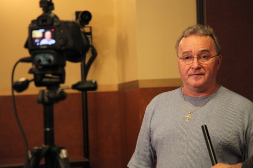WMU-Cooley Innocence Project exoneree Kenneth Wyniemko sharing his story with the press.