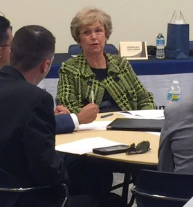 Senior U.S. District Judge Susan Bucklew speaks with students during a WMU-Cooley professionalism event.