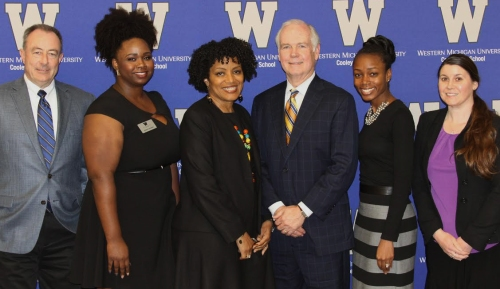(Left to right) Jeffrey Martlew, WMU-Cooley associate dean; Jazmin Shorter, president of WMU-Cooley BLSA; WMU-Cooley Professor Renalia DuBose; Donald Smith, partner with Smith, Tozian, Daniel & Davis, P.A.; Keshara Cowans, Florida Bar Counsel; and Amy Bandow, assistant director of WMU-Cooley's Center for Ethics, Service, and Professionalism