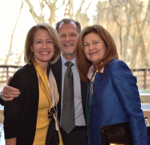 (Left to right) WMU-Cooley Professor Lauren Rousseau, WMU President John Dunn, and Elaine Englehardt, professor of philosophy at Utah Valley University