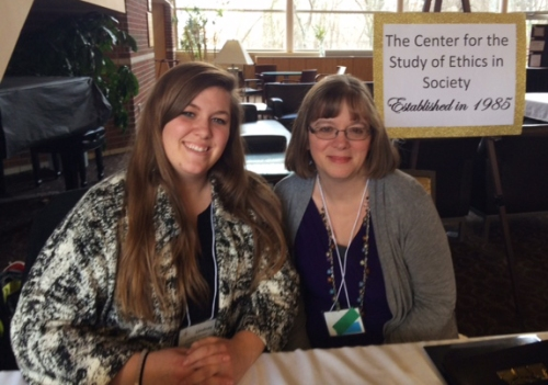 (Left to right) Conference Coordinator Lindsay Hunter and Professor Sandra Borden, director of the Center for the Study of Ethics in Society