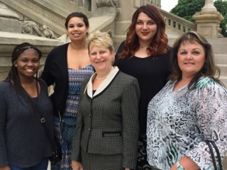 WMU-Cooley Innocence Project Director Marla Mitchell-Cichon (center) and her team of interns are paving the way to right the wrongs in the criminal justice system. WMU interns: (left to right): Shay Wright, Erika Donner, Ashley Chlebek, Terry Huhn