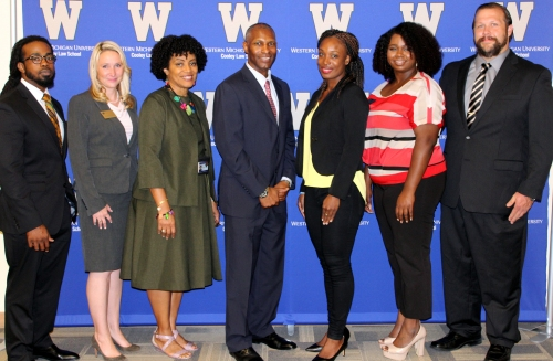 (left-right) WMU-Cooley student Sylvester Stokes, BLSA member, Professor Stevie Swanson, Professor Renalia Dubose, Keynote speaker Edward Keith DuBose, Tamike Laroque, BLSA vice president, Jazmin Shorter, WMU-Cooley BLSA president, Joe Cline, BLSA treasurer