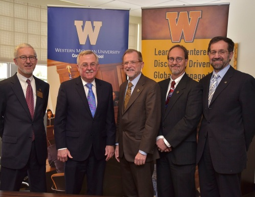 (Left to right) WMU-Cooley Associate Dean Nelson Miller, WMU President John Dunn, WMU-Cooley President Don LeDuc, WMU Professor and Affiliation Liaison Mark Hurwitz, and WMU Provost Timothy Greene