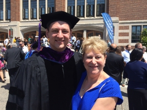 Joseph Daly and Professor Marla Mitchell-Cichon at graduation in May 2016