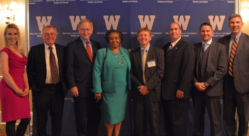 WMU-Cooley Law Review Symposium Editor Courtney Sierra, WMU-Cooley Law School President Don LeDuc, Hon. Stephen Markman, Distinguished Brief Winners Desiree Ferguson, Brett DeGroff, Brent Morton, Joshua Van Laan, and WMU-Cooley Professor and Law Review Advisor Mark Cooney