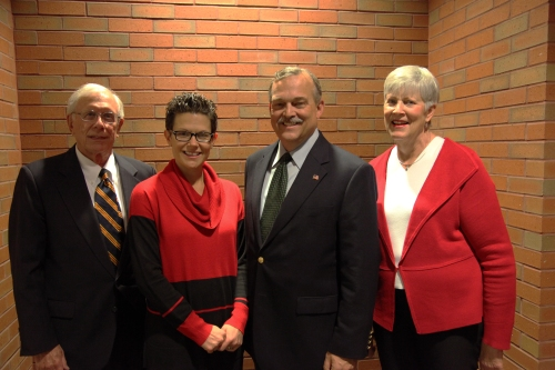 From left: Distinguished Professor Emeritus Otto Stockmeyer, Griffith Award winner Christi Henke, Associate Dean Michael C.H. McDaniel, Rick Griffith's widow Margie Griffith.