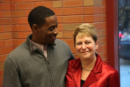 WMU-Cooley Innocence Project Director Marla Mitchell-Cichon with exoneree Donya Davis.