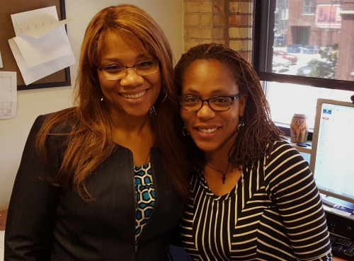 WMU-Cooley graduate Zaneta Adams with WMU-Cooley Assistant Dean Tracey Brame.
