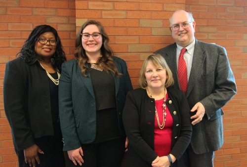 Pictured from left to right: WMU-Cooley Professor and Auxiliary Dean Martha Moore; MLive Capitol Reporter Emily Lawler; Veterans Affairs Agency Senior Policy Advisor Meegan Holland and Publisher of Gongwer News Service John Lindstrom.