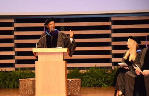 Ricardeau Lucceus presents valedictory remarks during WMU-Cooley Law School's Tampa Bay campus graduation.