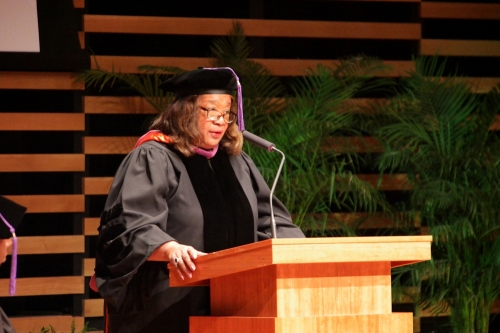 Judge Barbara Twine Thomas of Hillsborough County's 13th Judicial Circuit Juvenile Division provides the keynote during WMU-Cooley Law School's Tampa Bay campus spring commencement on April 15.