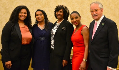 ABA Past President Paulette Brown (center) with WMU-Cooley Davis-Dunnings Bar Association award winners student Tiffany West , graduate Taneashia R. Morrell, student ReNita Antoine, and graduate, Board President, and State Bar of Michigan President Lawrence P. Nolan. (Photo credit: Traci Lee, LLC)