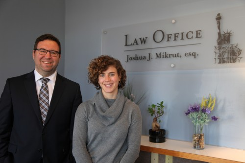 WMU-Cooley graduate Josh Mikrut and Anna at the Law Office of Joshua J. Mikrut, esq.