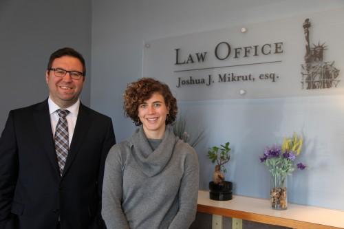 WMU-Cooley graduate Josh Mikrut and Anna at the Law Office of Joshua J. Mikrut, esq.