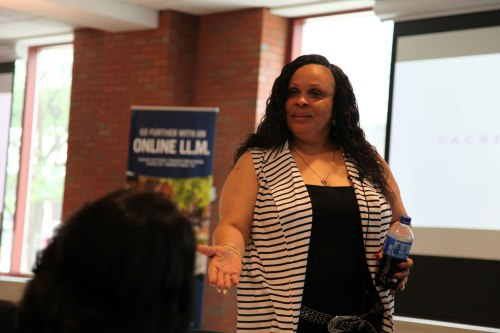 Sacred Beginnings Founder Leslie King tells WMU-Cooley law students her life story of being exploited, addicted, and trapped, until she found the courage to turn her life around.